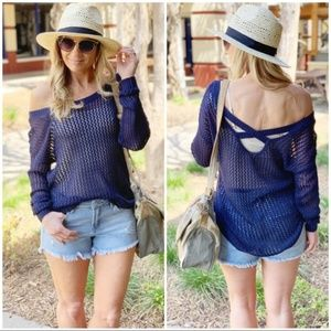 LAST ONE! Navy Open Knit Spring Sweater